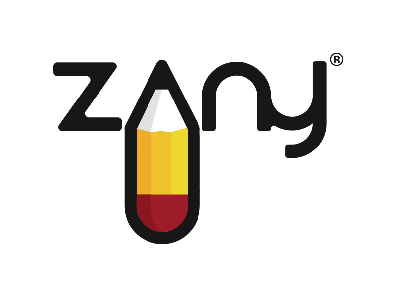 Zany Logo pencil branding design logo flat illustration