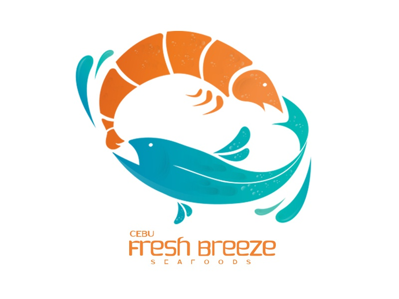 Cebu Fresh Breeze Seafood cyan orange design branding logo gradient