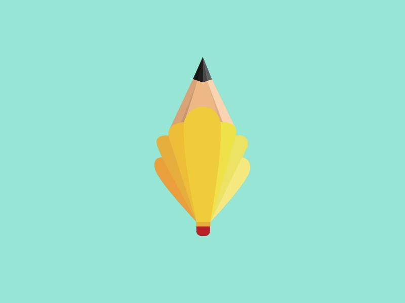 Penshell illustration design logo yellow pencil branding