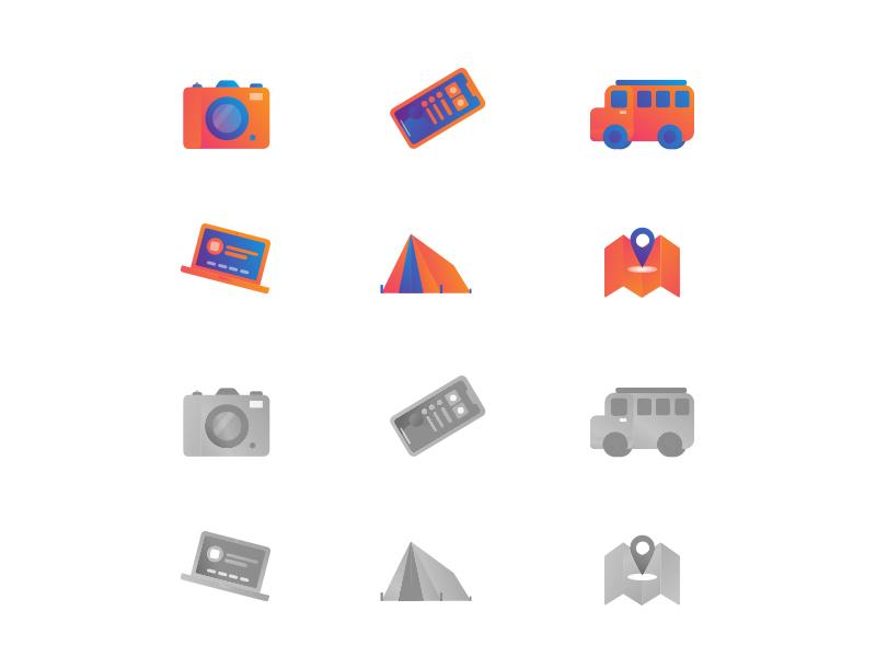 Travelers Icon Pack illustration orange camp travel icons