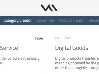 Category Creator dashboard e-commerce ecommerce