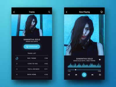 Music App  mixer audio download minimal clean ux ui iphone player music app sketch