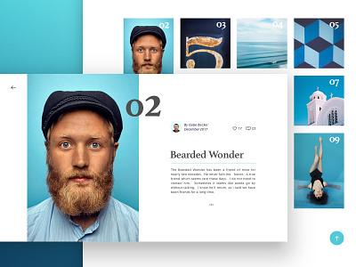 The Grid scrolling website beard sketch blog photography blue responsive ux ui application web grid