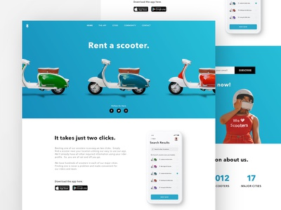 Scooter Rental Landing Page motorcycle responsive ios iphone x app landing page scooter web design sketch