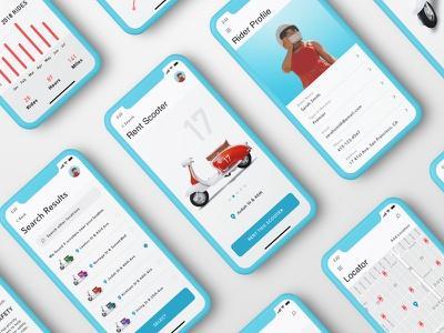 Scooter Rental App motorcycle responsive ios iphone x app landing page data analytics scooter sketch