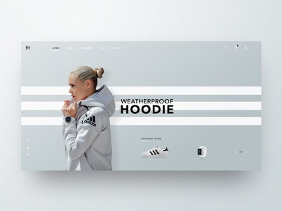 Waterproof Hoodie Header athlete clothing web design checkout sport fashion sneaker header landing page adidas ecommerce ux ui