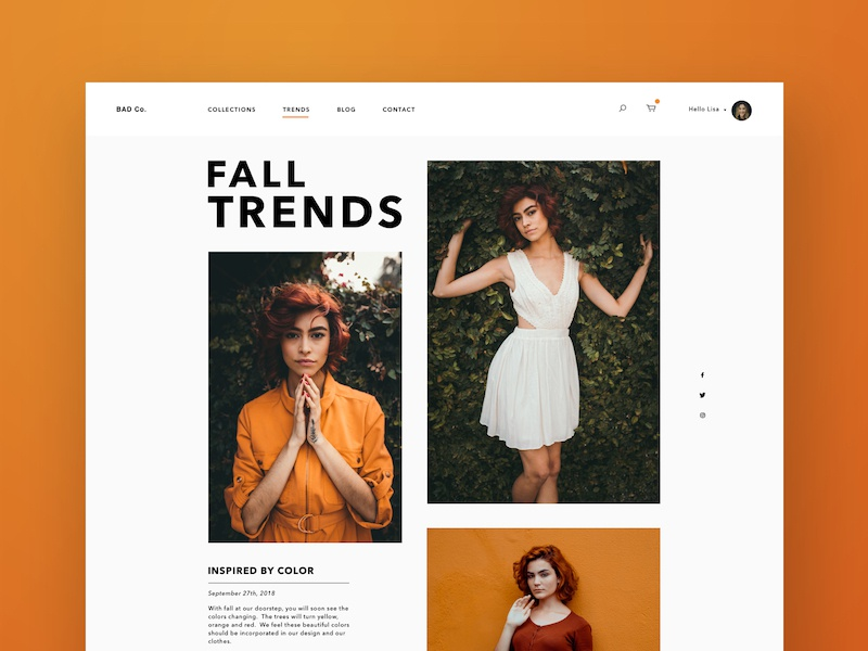 Women's Fall Fashion  - Web Version ecommerce ux ui womens checkout cart trends blog fall orange clothing fashion social web design landing page sketch
