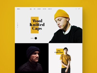 Wool Knitted Caps mens modern clothing responsive social web design fashion minimal landing page ecommerce ux ui sketch