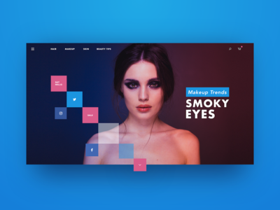 Makeup Site grid ecommerce landing page navigation social ux ui header fashion makeup minimal web design web sketch