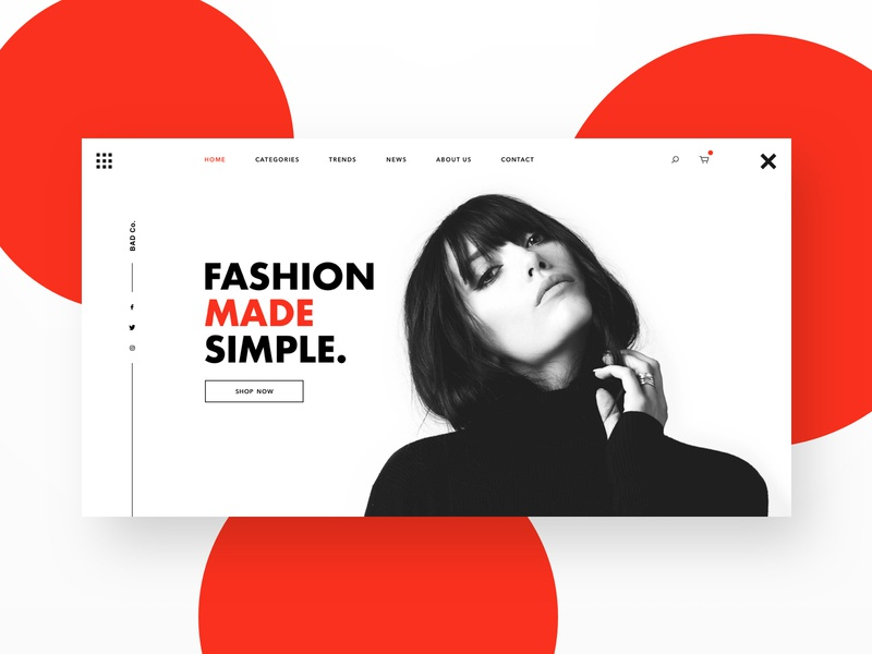 Fashion Made Simple website web minimal ux ui ecommerce shop responsive clothing black and white landing page header fashion sketch