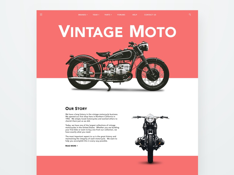 Vintage Moto minimal ecommerce responsive typography web web design moto motorcycle clean landing page modern ux ui sketch