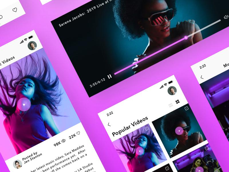 Music Videos (Mobile Version) search ios minimal iphone x modern fashion mobile app video music ux ui sketch