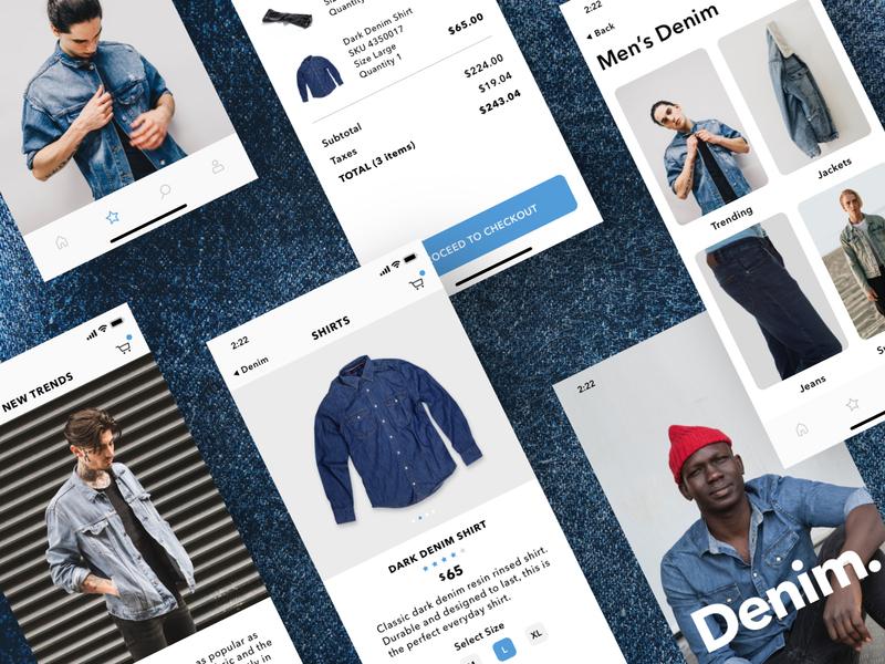 Denim. checkout cart denim iphonex ios clothing fashion app minimal ecommerce mobile ux ui sketch