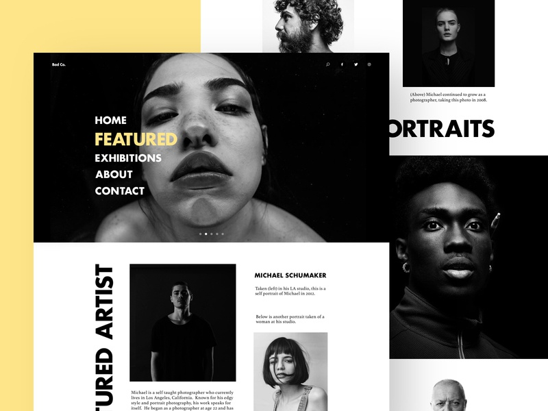 Photography Site Layout grayscale black and white artist photos web modern fashion web  design photography landing page minimal ux ui sketch