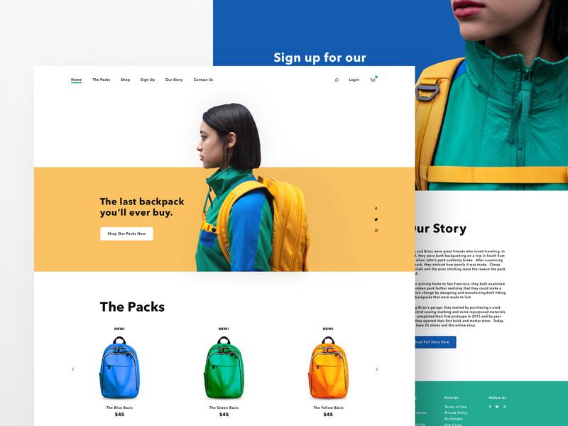 Backpacks web design branding webdesign grid minimal cart clothing ui ux website web  design retail backpacks ecommerce fashion landing page sketch