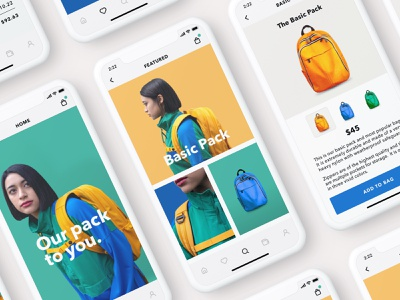 Backpacks (Mobile Version) product design iphone x color mobile checkout clothing iphone cart minimal backpacks ios fashion app ecommerce ux ui sketch
