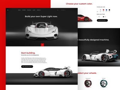 The Super Light branding modern adobe cart app web typography website webdesign scrolling automobile custom car landing page minimal ecommerce ux ui sketch