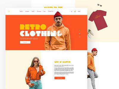 Retro Clothing Site grid website retro clothing unsplash minimal web design landing page cart fashion typogaphy branding ui ux ecommerce sketch