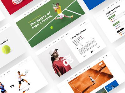 Tennis Site pages app landing page video streaming web header sports website ui ux minimal webdesign tennis sketch