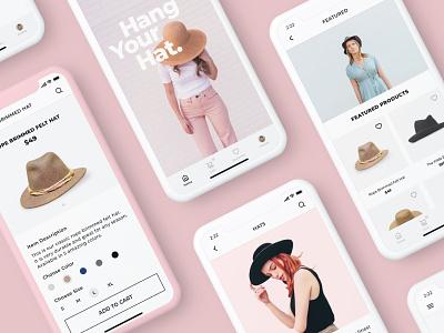 Hats (Mobile Layout) web web design pink ios checkout product design clothing hat fashion cart iphonex app minimal ecommerce mobile ux ui sketch