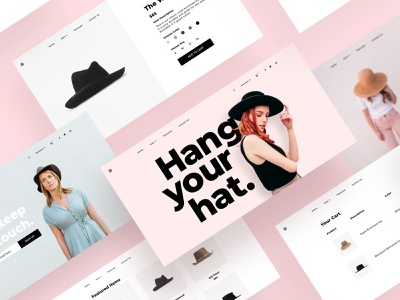 Hats (Web Layout) modern checkout cart product page hats typography product design web design fashion landing page minimal ecommerce ux ui sketch