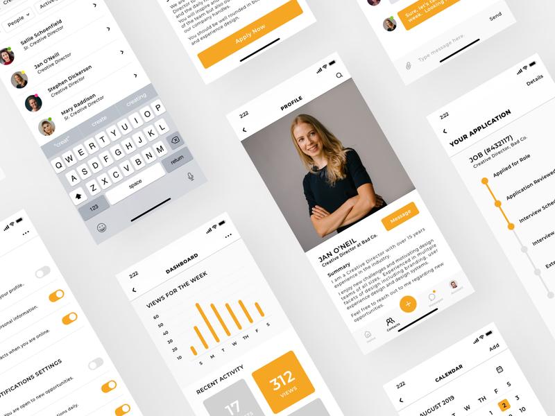 Career App search settings product design analytics data chart profile job career iphone ios mobile ux ui sketch