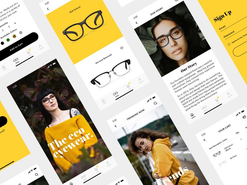 Eco Eyeglasses mobile signup product design checkout style iphone minimal ios ecommerce cart ui  ux yellow fashion eyeglasses sketch