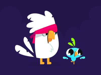 Caco & Blu character creation flat bird gameart gamedev character concept character