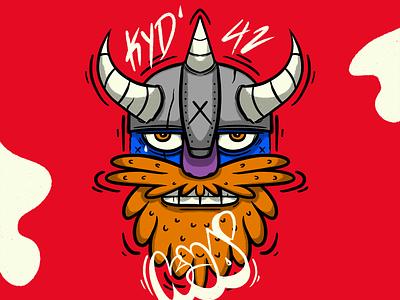 Blue Viking artwork tag beard photoshop street art character design illustraion graffiti viking ipad pro procreate