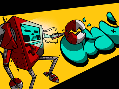 Mr.0_Bot robot ipadpro procreate graffiti art character photoshop illustration design digital
