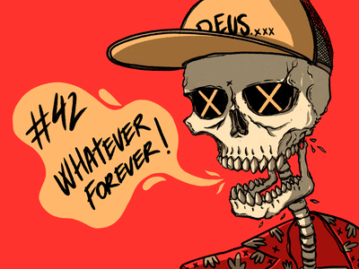 Whatever Forever! red art hawaiian skull procreate ipadpro character illustration design digital