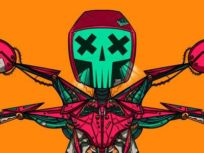Ex Machina 42 skull machina art digital sci-fi robot ipad procreate character illustration