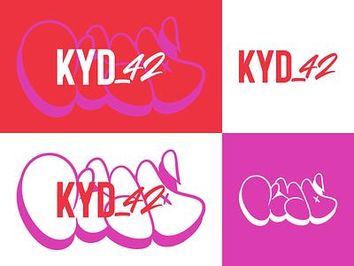 KYD_42 brand concept bubble 42 purple red digital vector branding brand tag art graffiti photoshop design