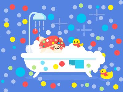 Take a Christmas bath? rubberduck illustration cute duck bathroom bath tub scarf christmas cat