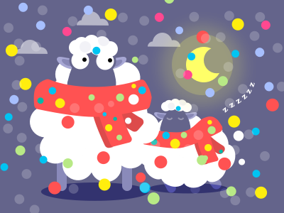 Sleep time or party time? cloud night scarf moon sleep sheep snow white illustration cute red christmas