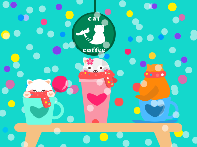 I ordered 3 cups of coffee for my holiday mug cute christmas illustration coffee cat