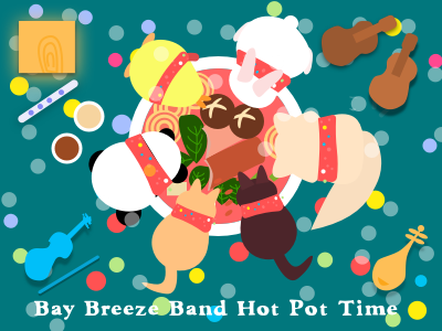 Rehearsal time or hot pot time?? party eat hotpot cat panda rabbit cute illustration drum guitar violin instrument