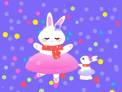 Ballet rabbit is dancing with her baby