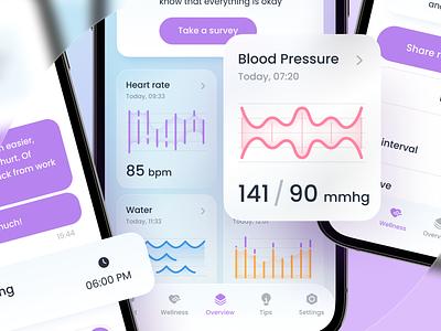 Heart Keeper –Health App mobile health app design interface design ux ui glassmorphism health app
