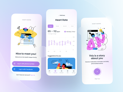 Heart Keeper – Health App health app glassmorphism ui ux interface design app design health mobile