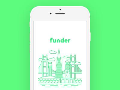 Funder Launch Illustration product sketch flat branding app vector typography ui design logo illustration