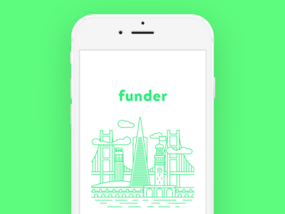 Funder Launch Illustration product sketch flat branding app vector typography ui design logo illustration