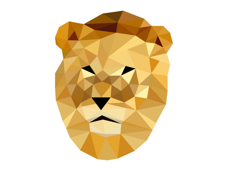 Low poly Lion  triangles low poly lion
