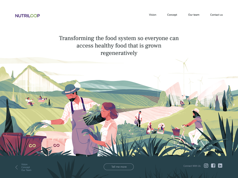 Illustration for the NutriLoop (part 2) ecological ecology eco zerowaste freebies header illustration header design ux ui ios team cover download character gradient hero header noise texture illustration