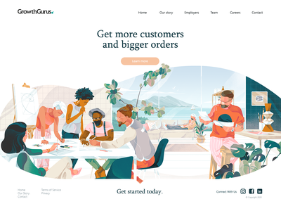 Illustration for the Growth gurus project (part 2) nature color banner man peoples hero illustration ux ui teamwork team noise light cover hero header texture download freebies character illustration