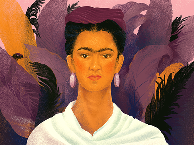 Frida Khalo. My gem. frida web noise color light nature illustration icons gradient freebies girl character