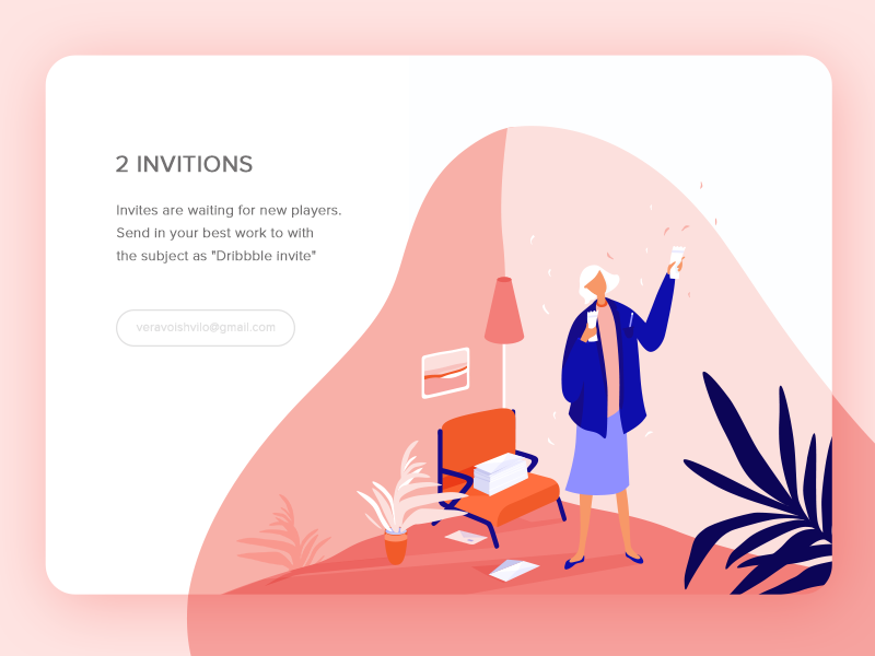 Grab Your invitation! :) web stroke invites ios illustration icons gradient freebies invitation download character pink