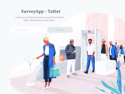 Illustration for the Surveyapp web texture noise illustration icons hero header freebies download cover character blue