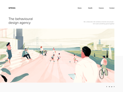 Illustration for the Spring Interactive agency team footer web texture noise illustration hero header freebies download cover character pink