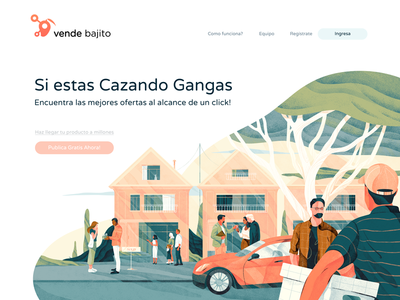 Illustration for the Vende Bajito web texture noise illustration icons hero header freebies download cover character gradient